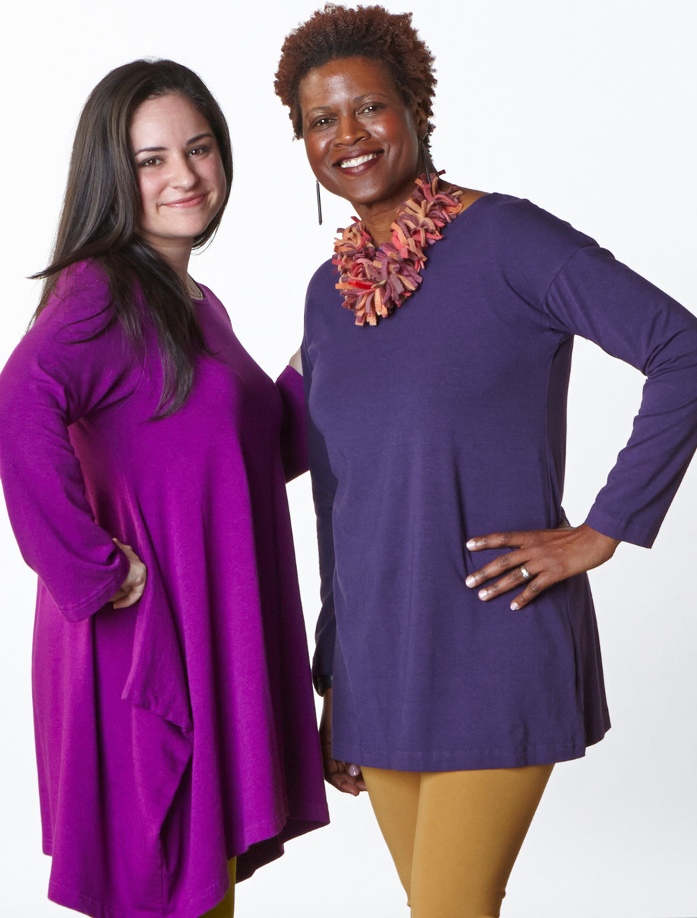 Nahla Tunic in Rhapsody Bamboo French Terry, Daisy Tunic in Polaris Bamboo Cotton