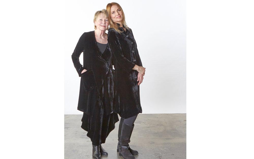 Andrea Jacket, Hamish Pant, Llewellyn Jacket in Black Italian Viscose/Silk Velvet, Gabo Tunic, Legging in Black Italian Microfiber Jersey