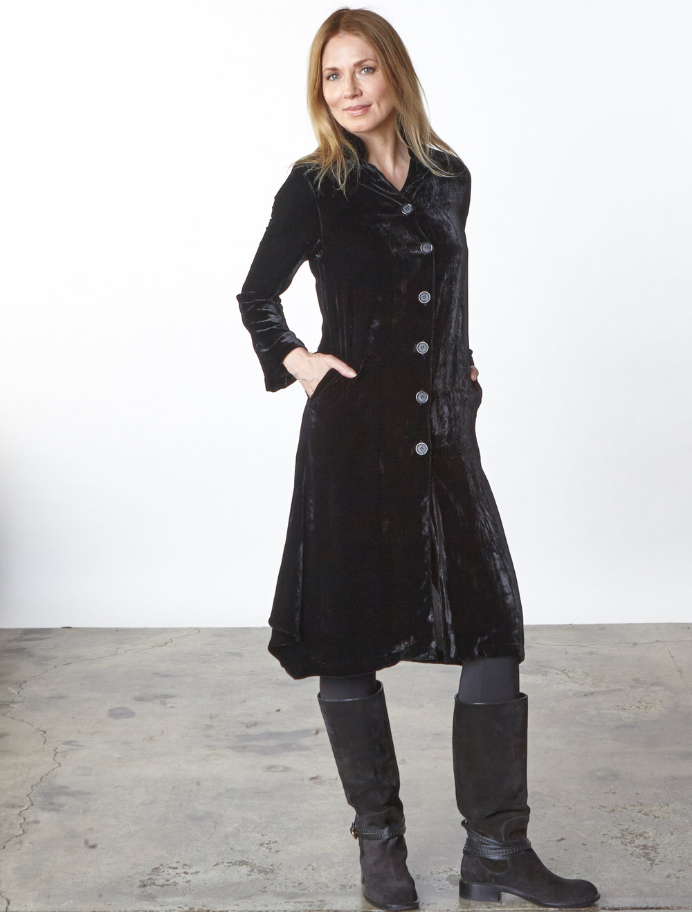Llewellyn Jacket in Black Italian Viscose/Silk Velvet, Legging in Black Italian Microfiber Jersey
