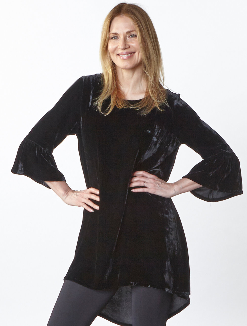 Phryne Tunic in Black Italian Viscose/Silk Velvet, Legging in Black Italian Microfiber Jersey