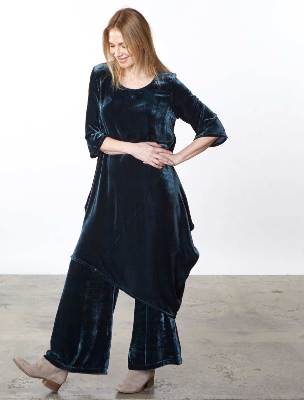 Naida Tunic, Long Full Pant in Teal Italian Viscose/Silk Velvet