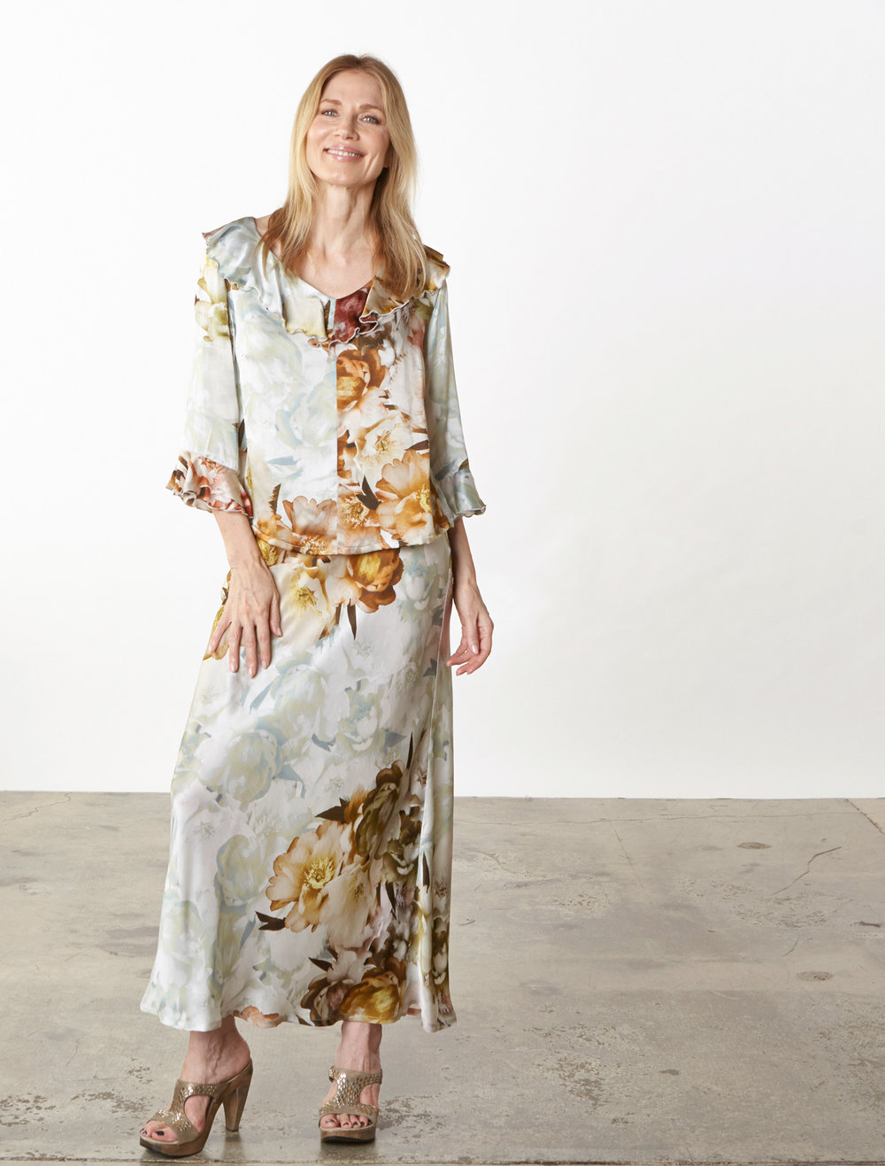 Georgia Shirt, Long Bias Skirt in Borghese Italian Silk