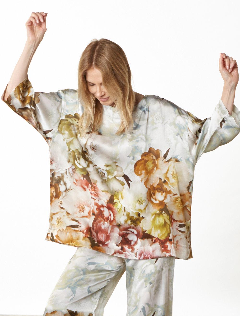 Resort Shirt, Long Full Pant in Borghese Italian Silk