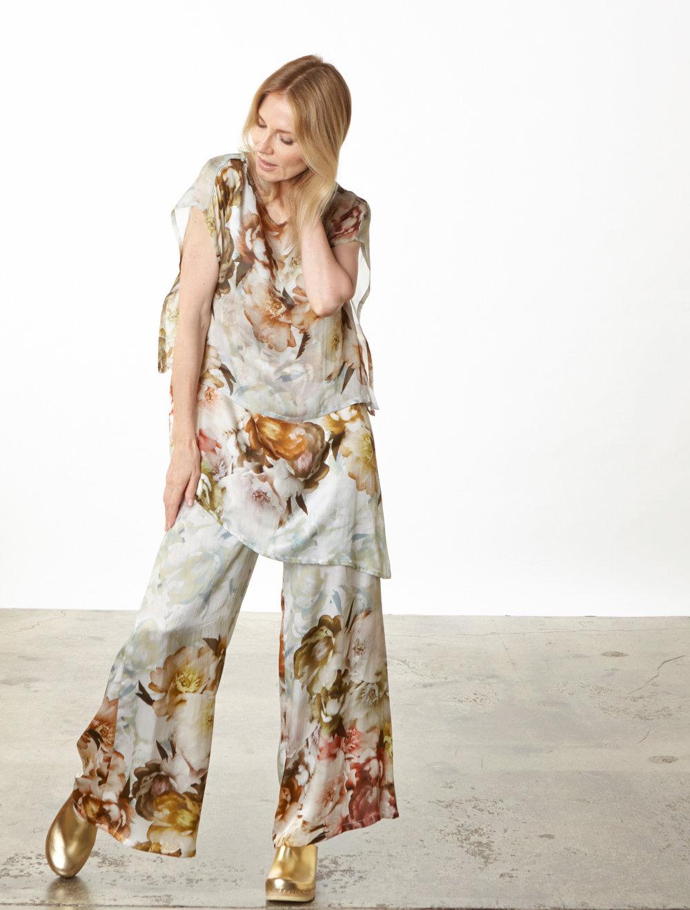 Una Tunic, Long Full Pant in Borghese Italian Silk, Pio Poncho in Borghese Italian Sheer Silk