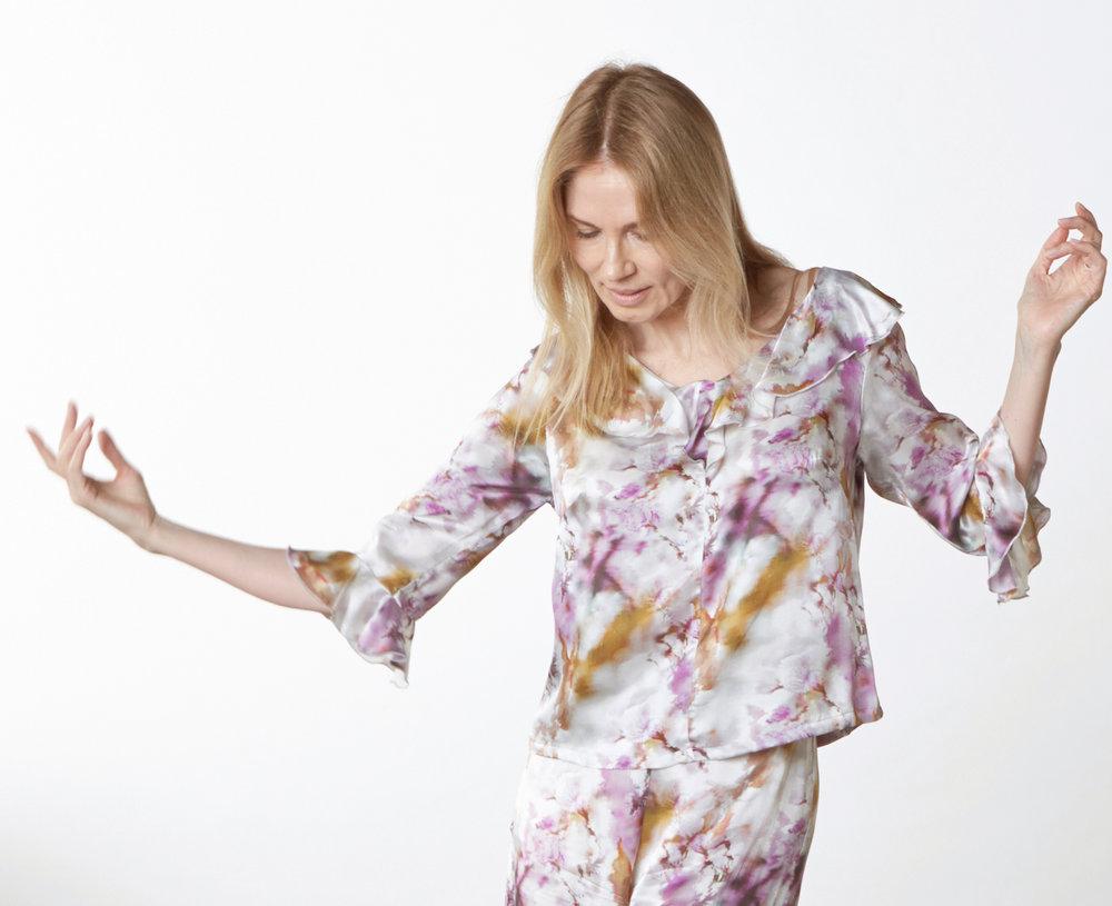 Georgia Shirt, Long Full Pant in Versailles Italian Silk