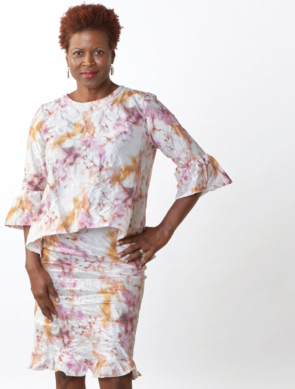 Fran Shirt, Short Skirt in Versailles Italian Memory Crunch Taffeta