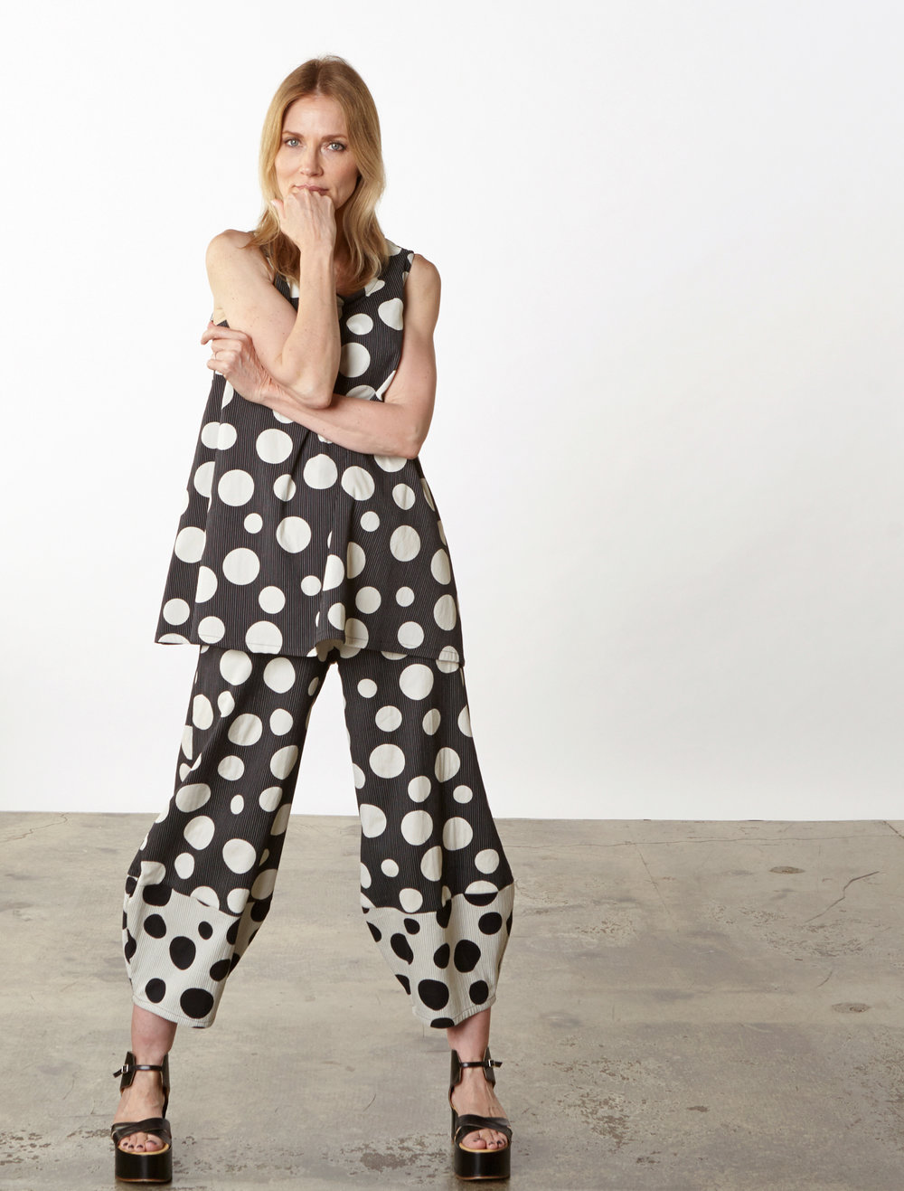 Long Trapeze Tank, Oliver Pant in Italian Dots & Stripes