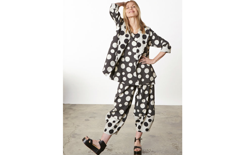 Marcel Jacket, Long Trapeze Tank, Oliver Pant in Italian Dots & Stripes