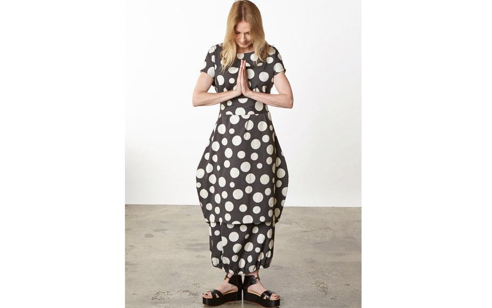 Bubble Dress, Bell Skirt in Italian Dots & Stripes