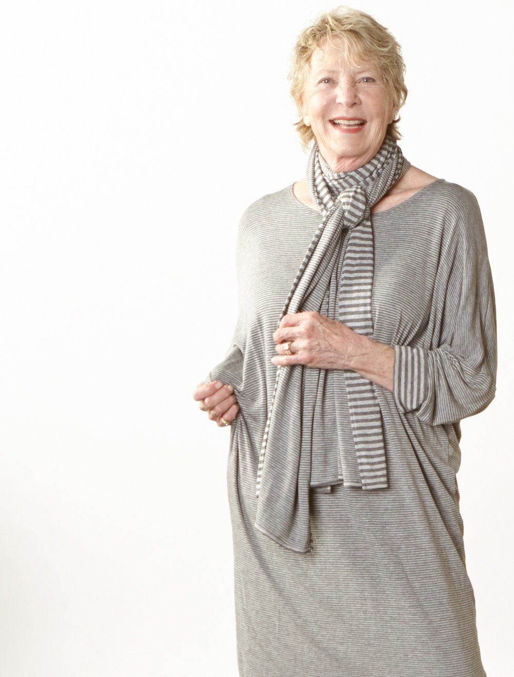Scarf, Alanna Tunic in Grey Double Stripe Jersey