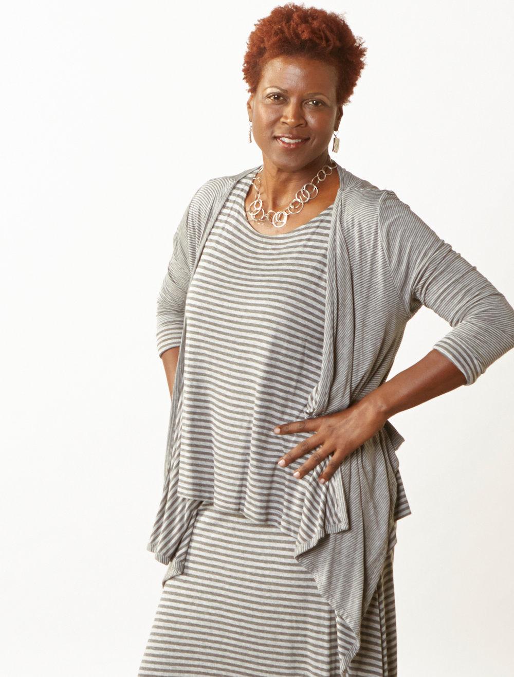 Alta Cardigan, Renee Tank, Gaucho Pant in Grey Double Stripe Jersey