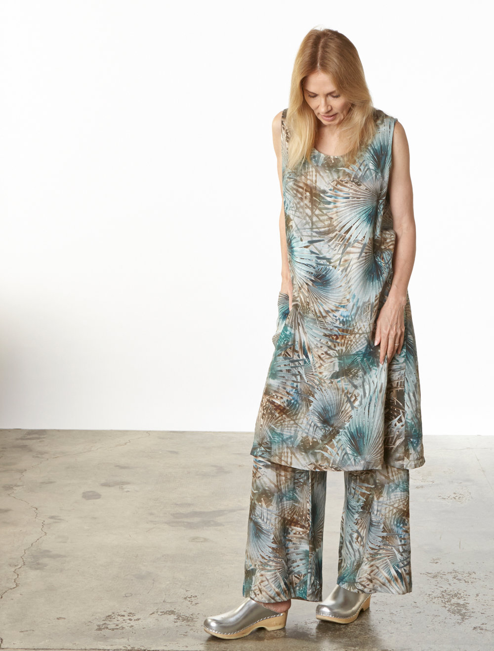 Luella Dress, Long Full Pant  in Palma Italian Linen