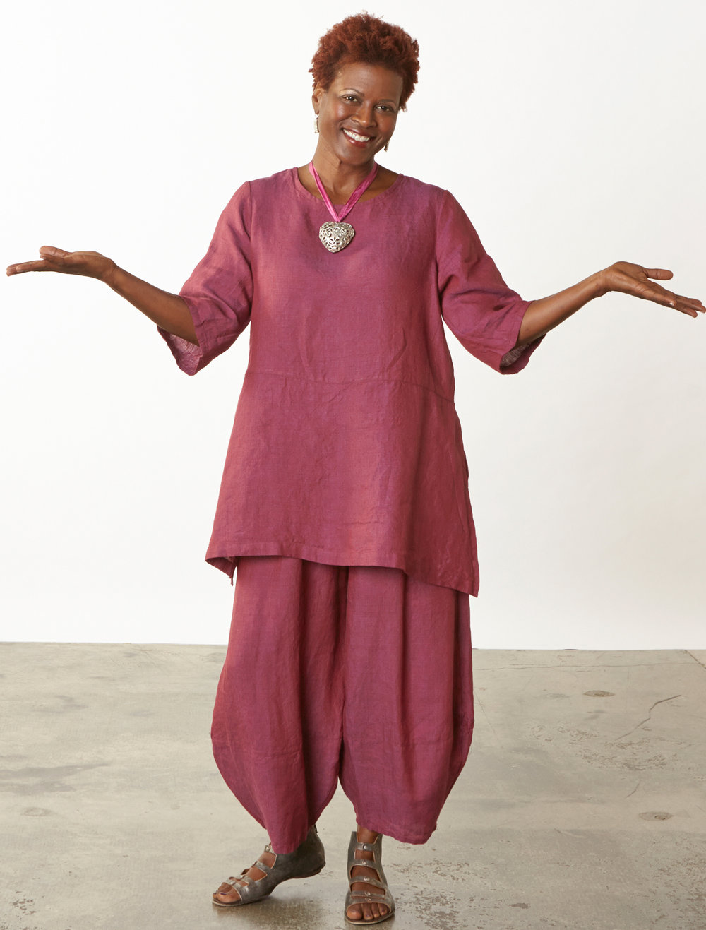 Bre Tunic, Oliver Pant in Granada Cross Dyed Linen