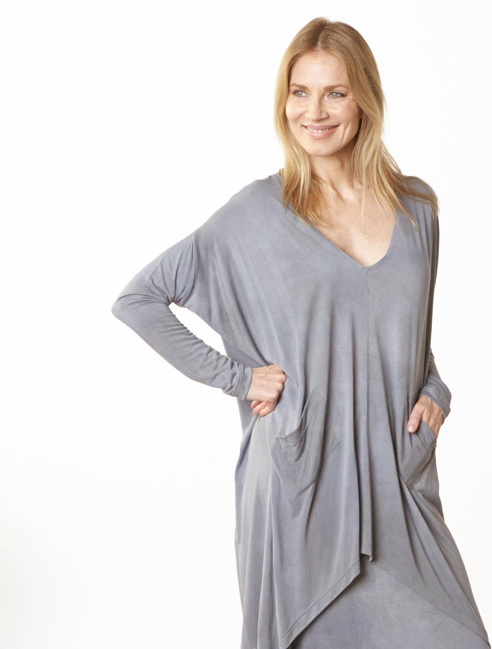Alexis Tunic in Grey Italian Tie Dye Viscose Jersey