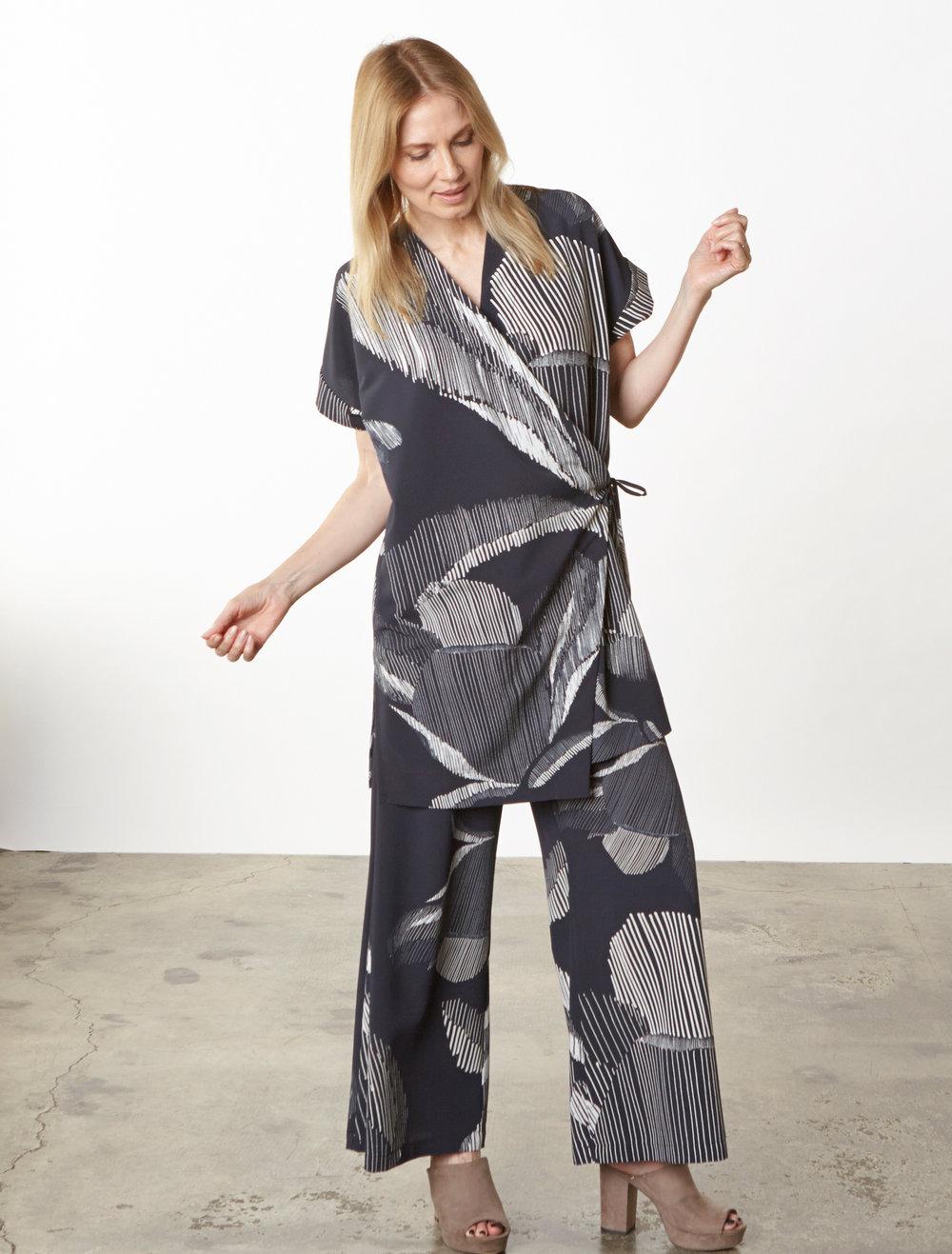 Freja Cardigan, Long Full Pant in lndaco Italian Foglia Print