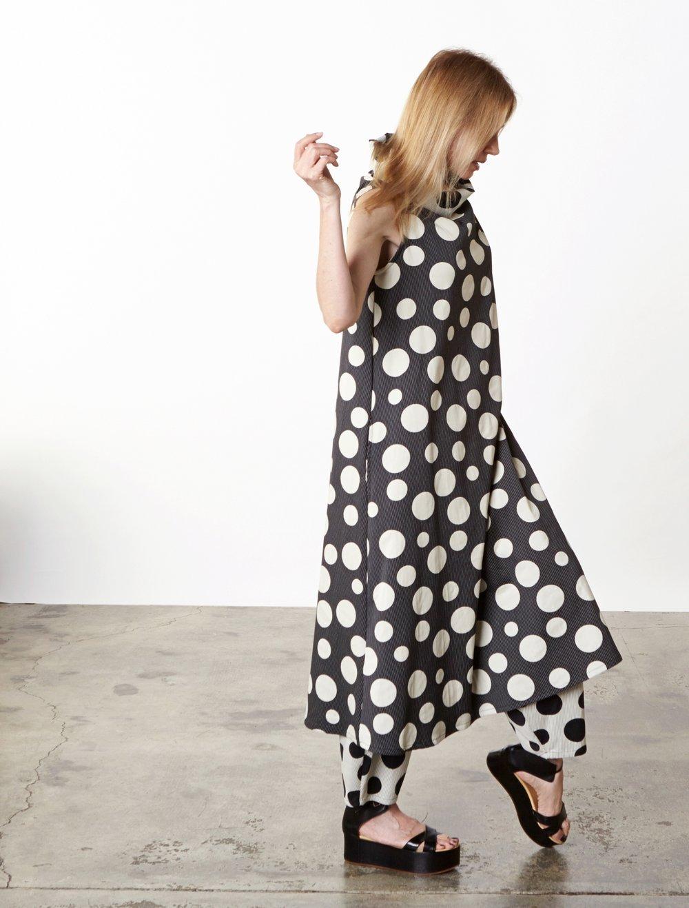 Henrietta Dress, Oliver Pant in Italian Dots & Stripes