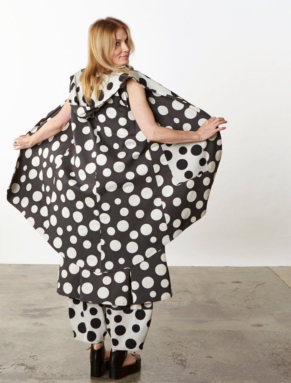 Morgen Vest, Henrietta Dress, Oliver Pant in Italian Dots & Stripes