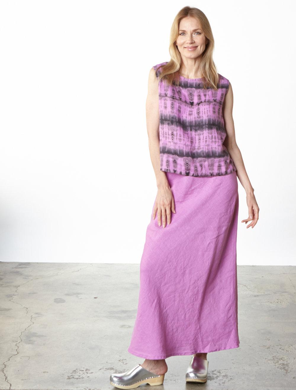 Basic Tank in lxia Tie Dye Linen, Long Bias Skirt in lxia Light Linen
