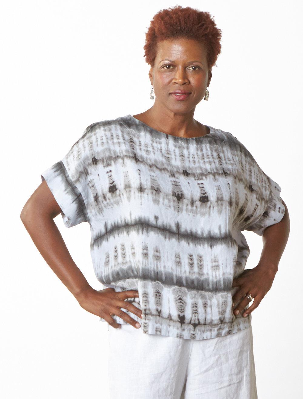 Orla Shirt in Fountain Tie Dye Linen, Long Full Pant in White Light Linen