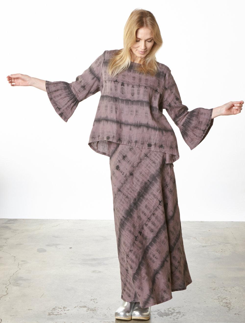 Fran Shirt, Long Bias Skirt in Easel Tie Dye Linen