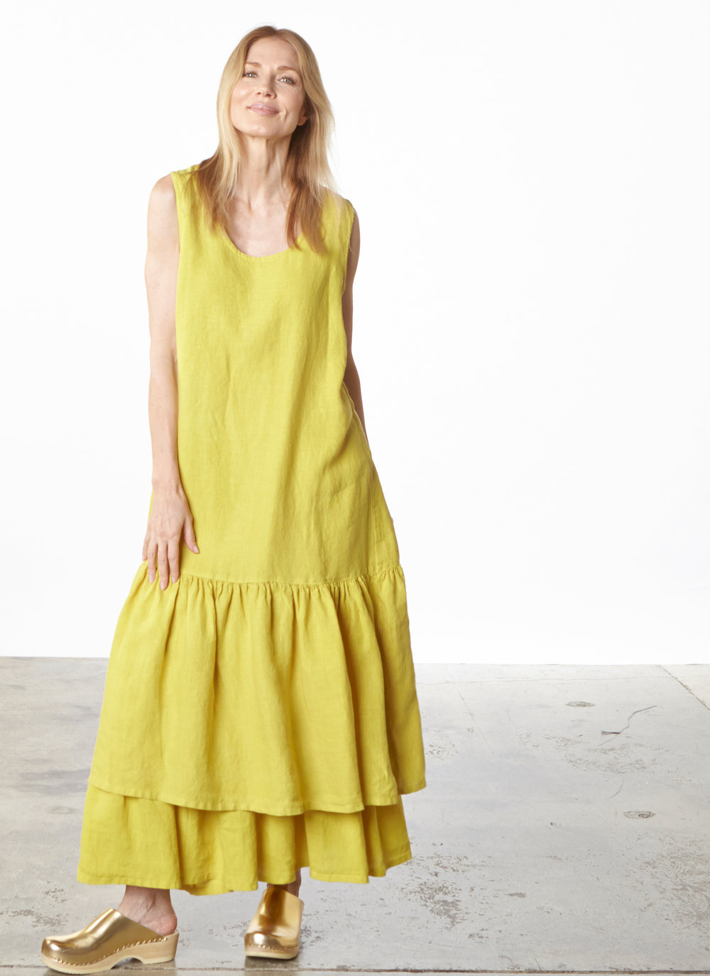 Salome Dress, Ruffle Skirt in Oriole Light Linen