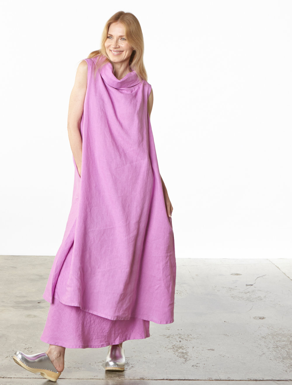 Henrietta Dress, Long Bias Skirt in lxia Light Linen