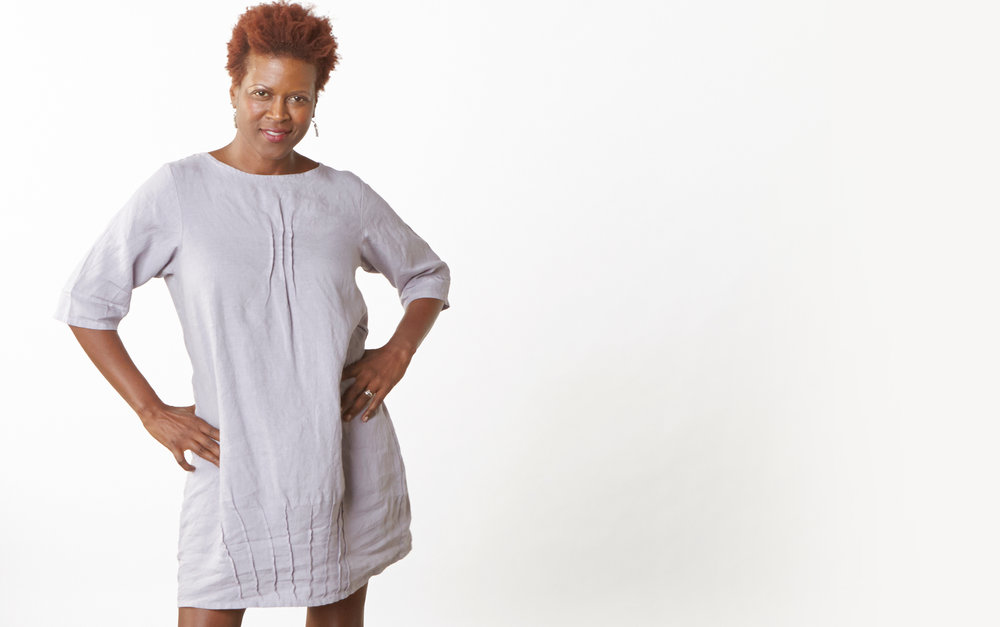 Pintuck Dress in Dapple Light Linen