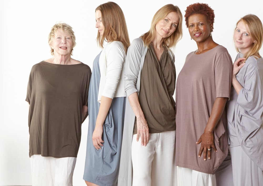 Debo Tunic in Kvass Micro Modal, Tre Cardigan in Cream, Conrad Tunic in Easel Organic Bamboo Cotton, Stellan Tunic in Loon, Tristan Cardigan in Pier, Twist Tank in Kvass Pima Cotton