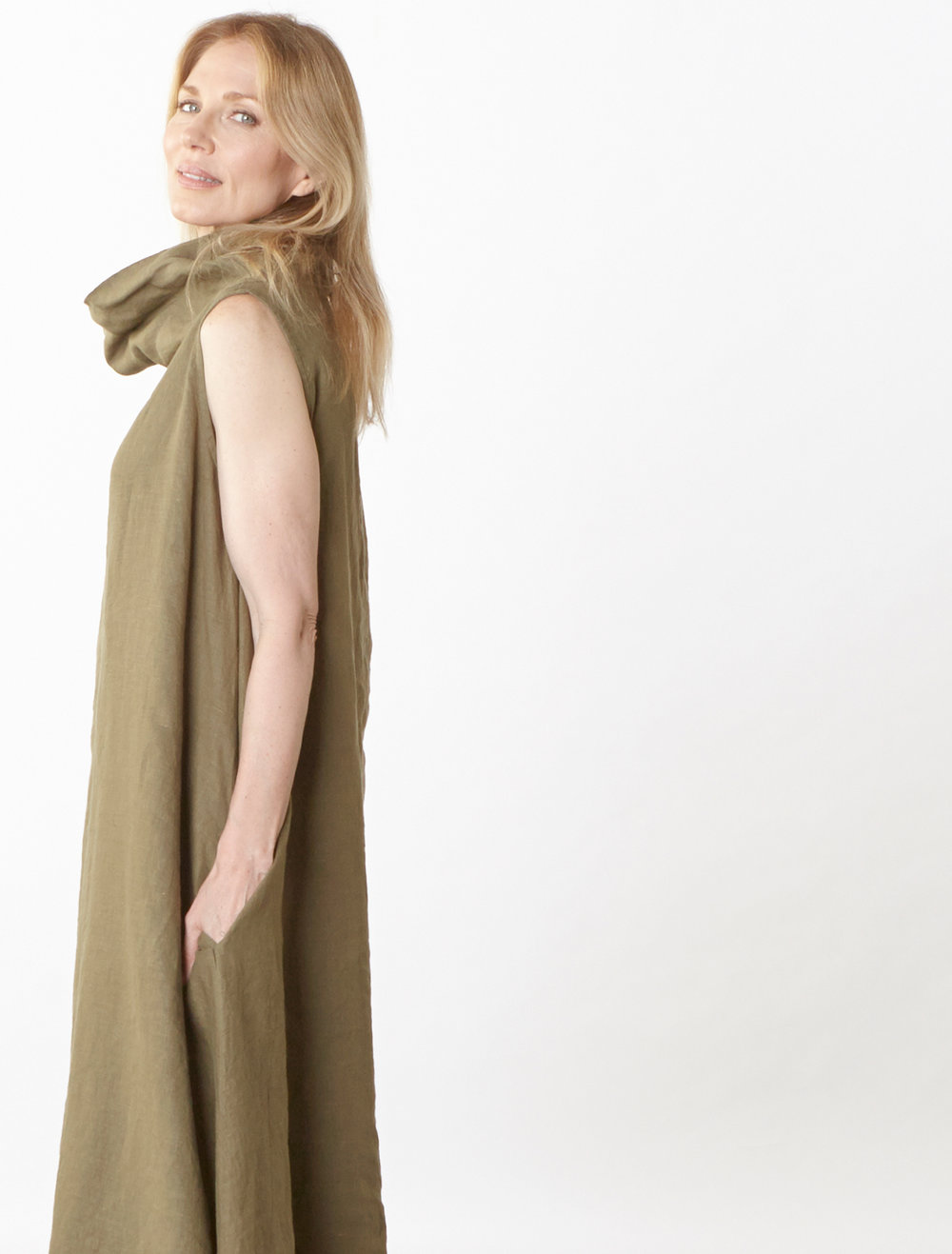 Henrietta Dress in Grove Light Linen