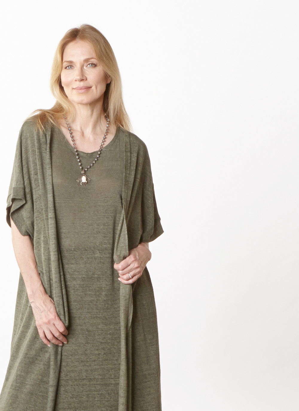 Ezra Cardigan, Pippa Dress in Verde Italian Linen Knit
