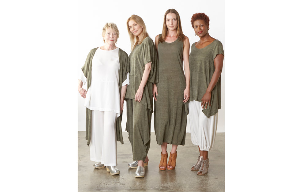 Ezra Cardigan, Vlad Shirt, Lois Tunic, Hamish Pant, Pippa Dress, Charlie Shirt in Verde Italian Linen Knit, Bre Tunic, Long Full Pant in Cream Tencel, Campana Pant in Cream Pima Cotton
