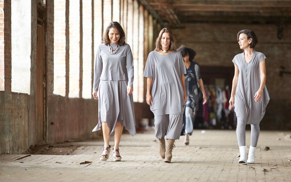 Bianca Skirt, Conrad Tunic, Ella Pant, Hayden Tunic, Crop Low Rise Legging in Grey Italian Microfiber Jersey