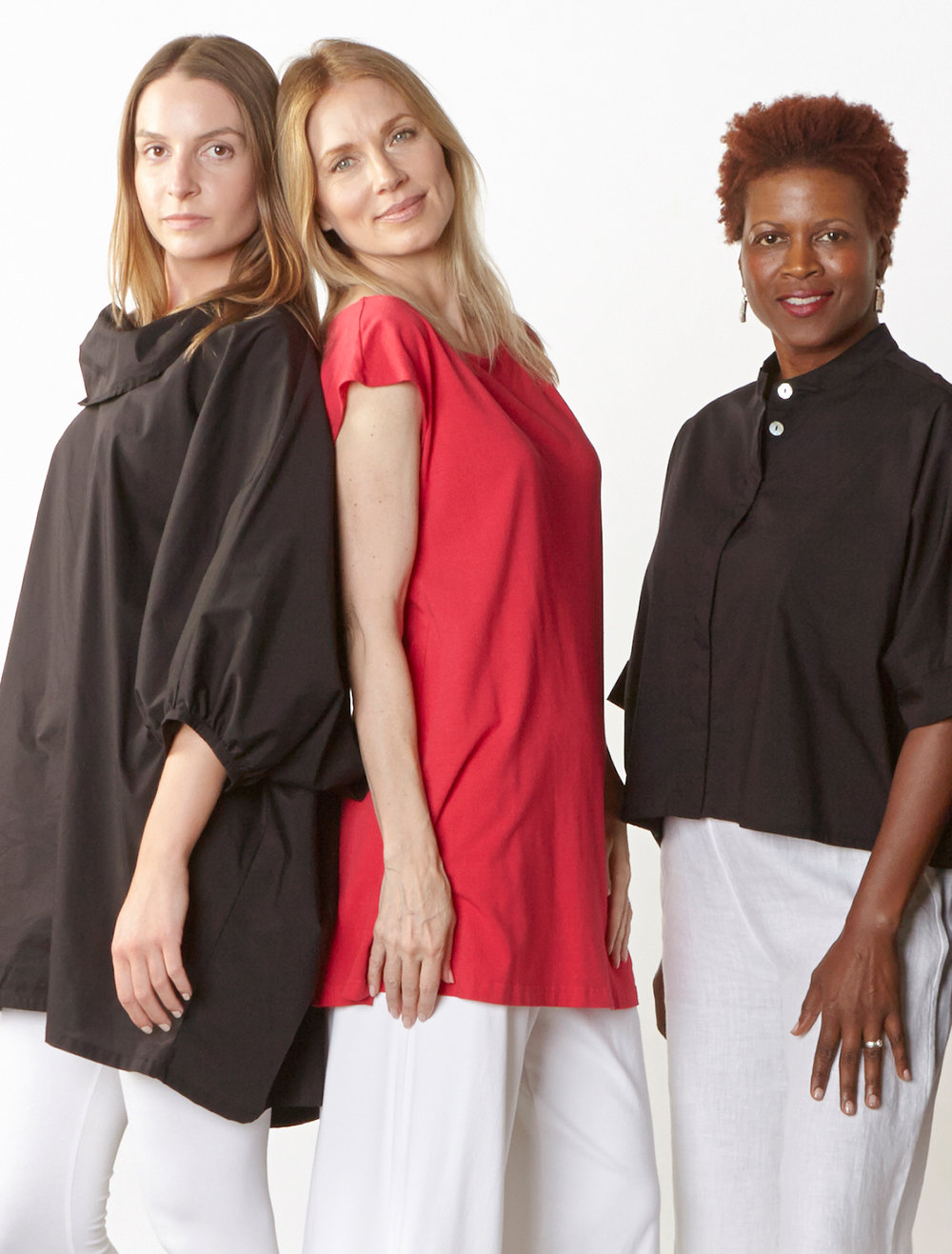 Wilde Tunic, Joe Shirt in Black Stretch Poplin, Dylan Tunic in Valerian Organic Bamboo Cotton