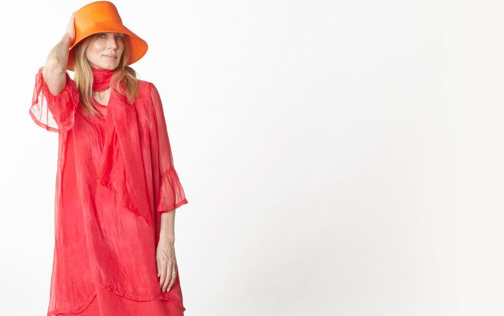 Scarf, Phryne Tunic in Fuchsia Italian Sheer Tie Dye Silk, Luella Dress in Valerian Light Linen