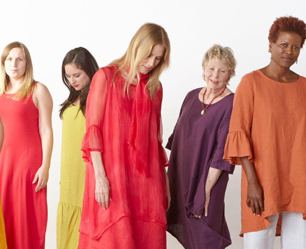 Pippa Dress in Valerian Organic Bamboo Cotton, Salome Dress in Oriole, Luella Dress in Valerian, Naida Tunic in Myth, Phryne Tunic in Tamarind Light Linen, Scarf, Phryne Tunic in Fuchsia Italian Sheer Tie Dye Silk