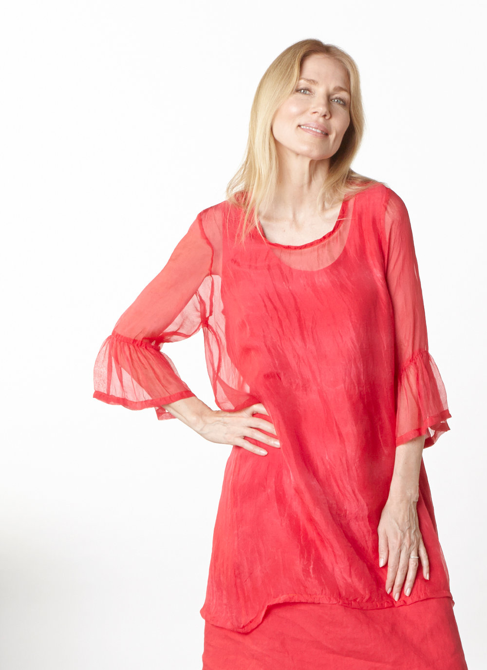 Phryne Tunic in Fuchsia Italian Sheer Tie Dye Silk, Luella Dress in Valerian Light Linen