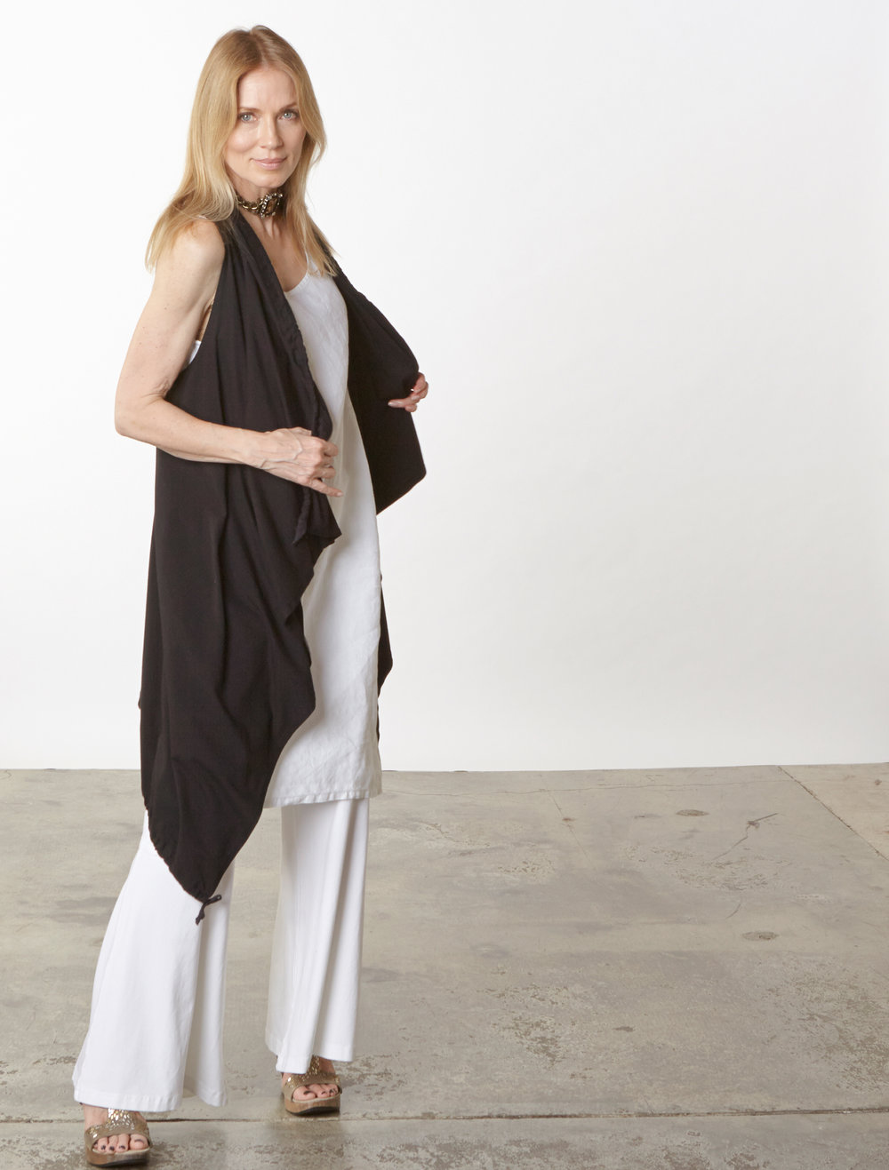 Eve Vest in Black, Oscar Pant in White Organic Bamboo Cotton, Luella Dress in White Light Linen