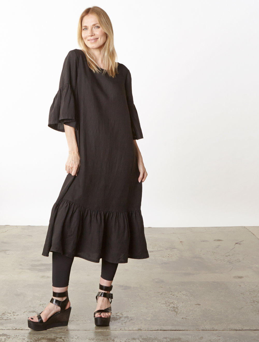 Seraphina Dress in Black Light Linen
