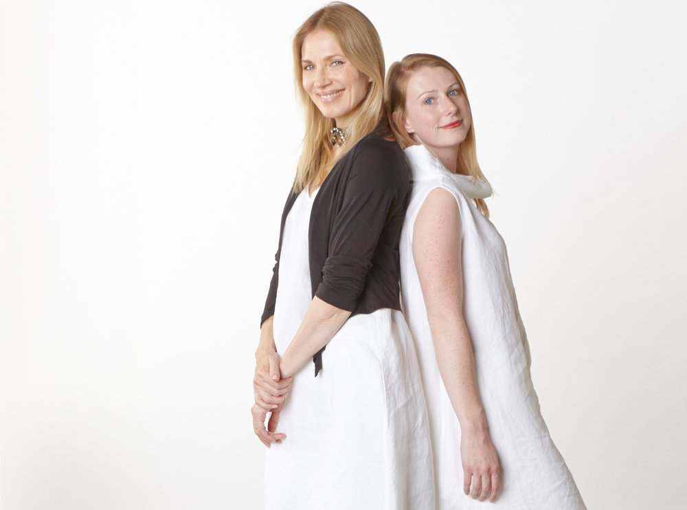 Tre Cardigan in Black Pima Cotton, Luella Dress, Henrietta Dress in White Light Linen