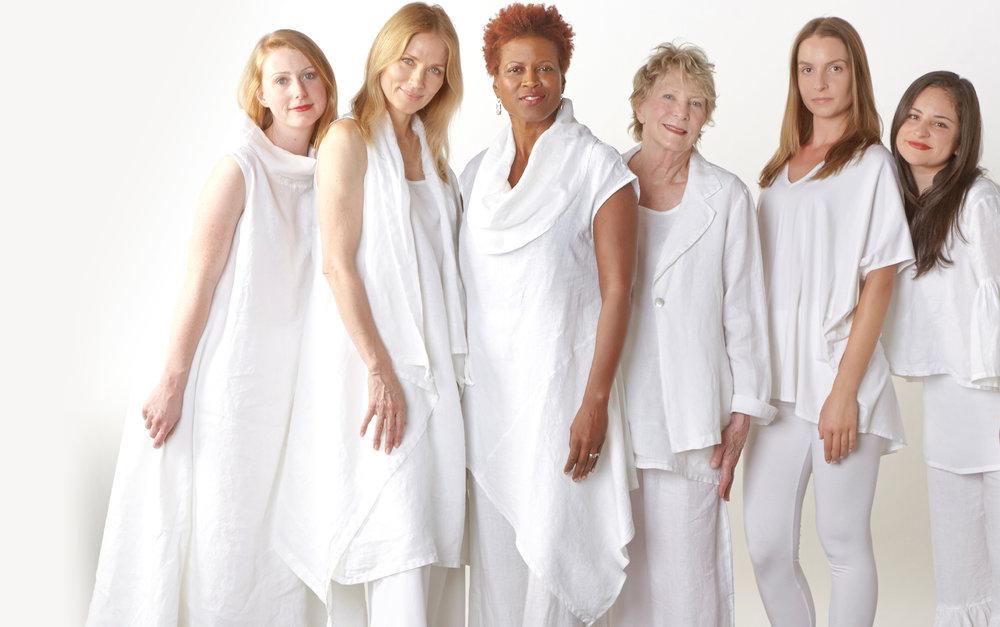 Henrietta Dress, Eve Vest, Noa Tunic, Alicia Jacket, Long Trapeze Tank, Frida Shirt in White Light Linen, Justin Tunic in White Organic Bamboo Cotton
