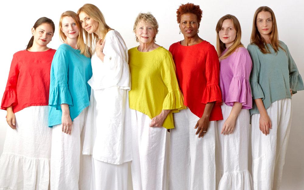 Fran Shirt in Valerian, Hvar, Oriole, Radish, Shore, Frida Shirt in White, lxia Light Linen