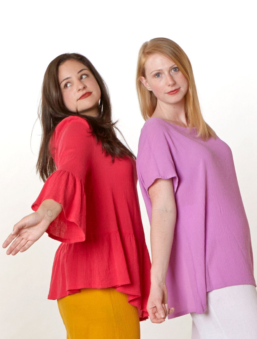 Franci Shirt in Valerian, Ivy Shirt in lxia Cotton Gauze