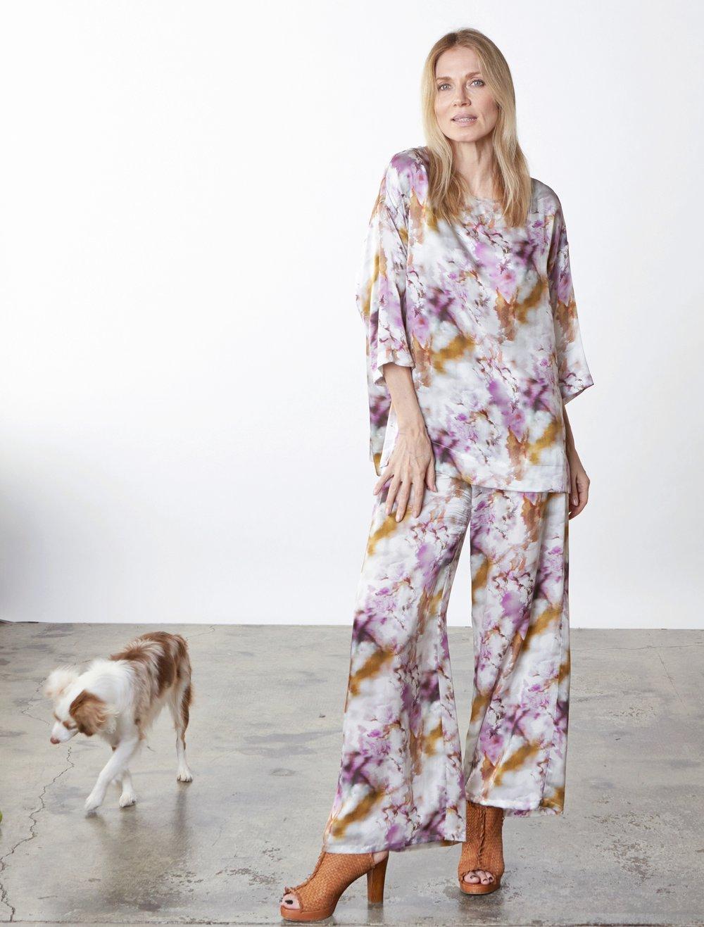 Resort Shirt, Long Full Pant in Versailles Italian Silk