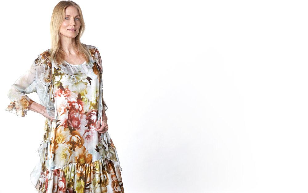 Camille Cardigan in Borghese Italian Sheer Silk,Salome Dress in Borghese Italian Silk