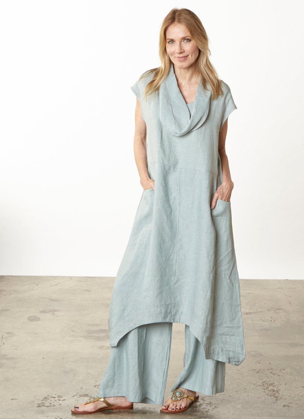 Atticus Romper, Long Full Pant in Taormina Cross Dyed Linen