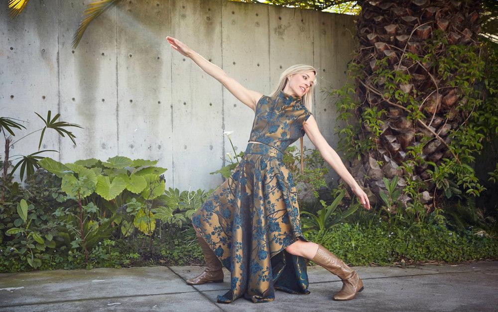 Crop Vest, Grange Skirt in Bronze Broccatello Fiori