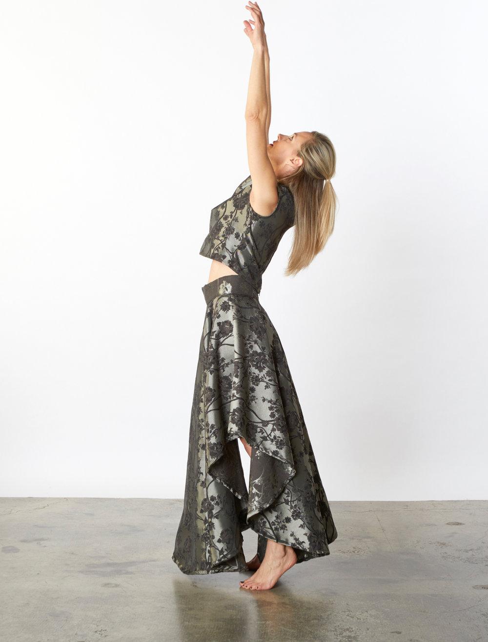 Crop Vest, Grange Skirt in Silver Broccatello Fiori