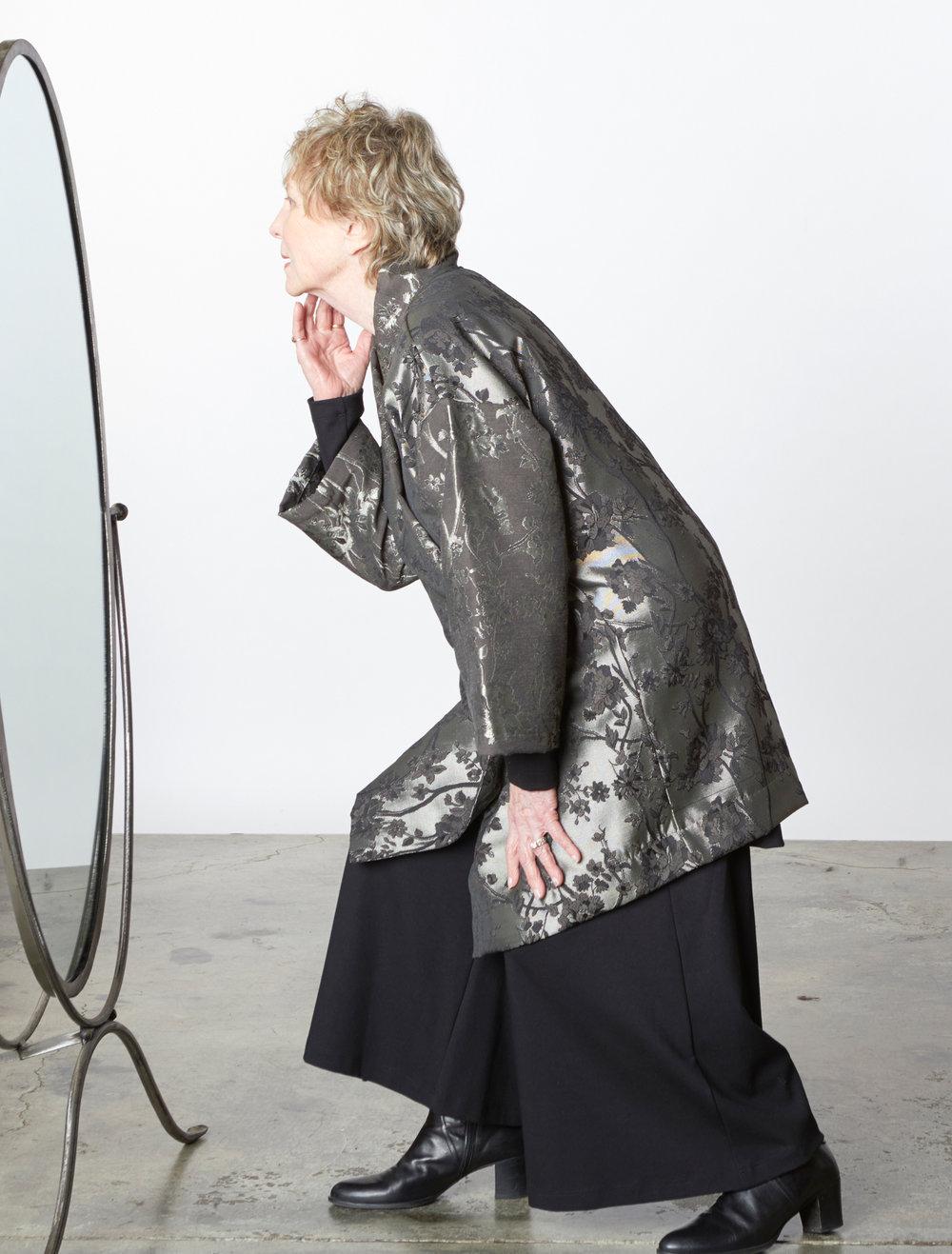 Franca Jacket in Silver Broccatello Fiori, Ella Pant in Black Modal Ponti