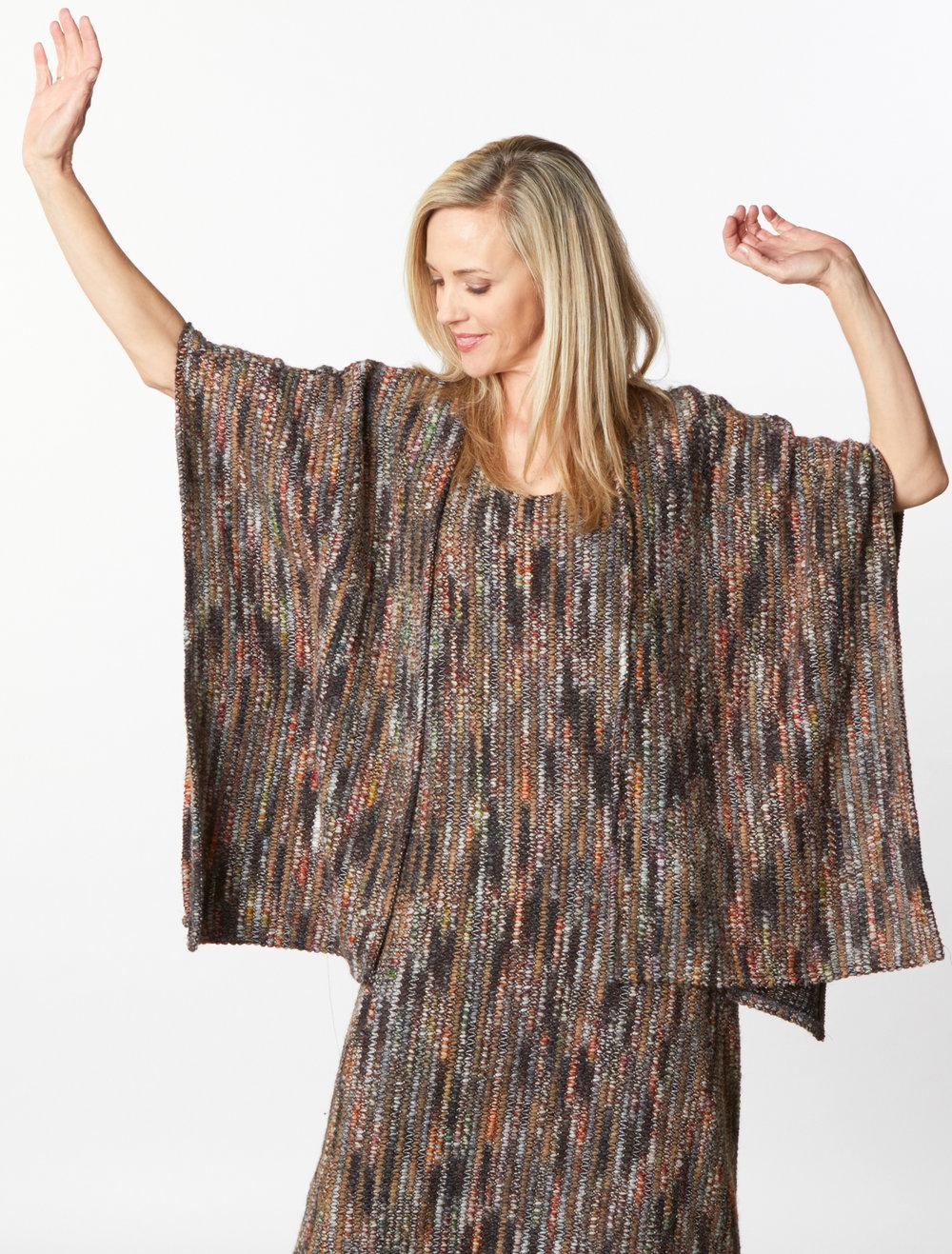 Bobbi Dress, Wrap Poncho in Multi Italian Crochet