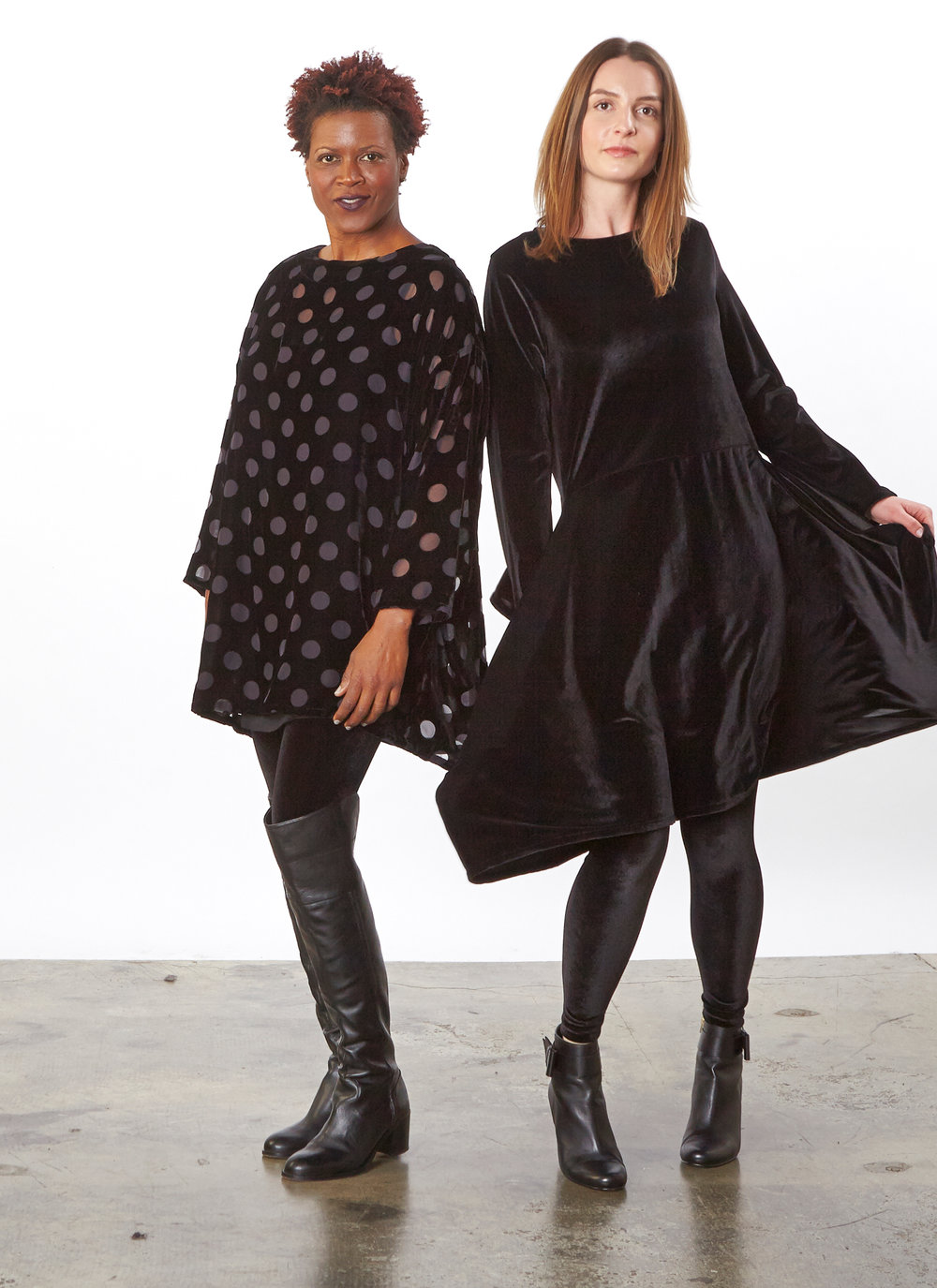Natalia Tunic, Legging in Black Italian Stretch Velvet